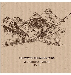 The way to the mountains vector image vector image