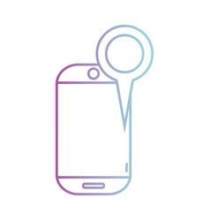 line smartphone technology with magnifying glass vector image vector image
