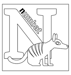 Numbat letter n coloring page vector