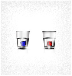 Two glasses and colored ice vector