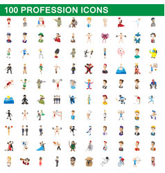 100 profession icons set cartoon style vector image vector image