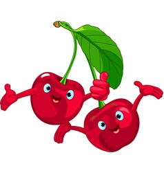 cartoon cherries character vector image