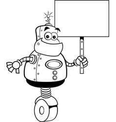 cartoon robot holding a sign vector image vector image