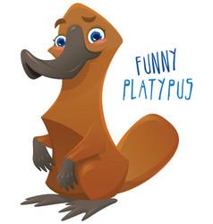 funny happy cartoon platypus vector image vector image