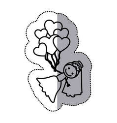 hand drawn sticker silhouette with bride and vector image vector image
