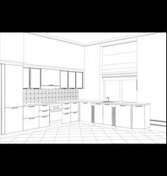 kitchen sketch style interior vector image