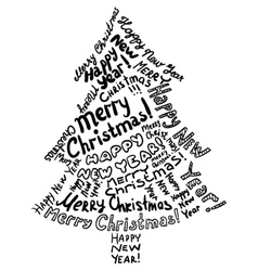 silhouette christmas tree vector image