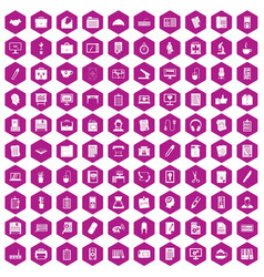 100 office icons hexagon violet vector