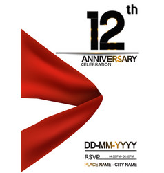 12 anniversary design with big red ribbon vector