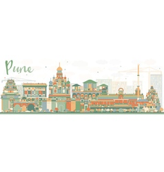Abstract pune skyline with color buildings vector