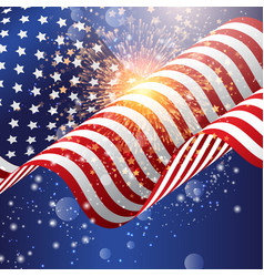 American flag background with firework vector