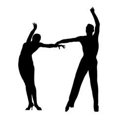Black silhouette couple dancers vector