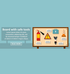 board with safe tools banner horizontal concept vector image