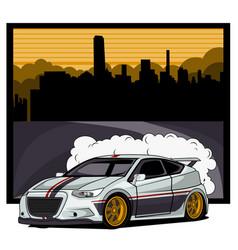 Car honda cr-zwith a city background vector