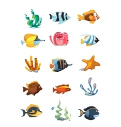 Cartoon aquarium decor objects underwater vector