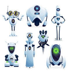 Cartoon robots cyborg characters toys set vector