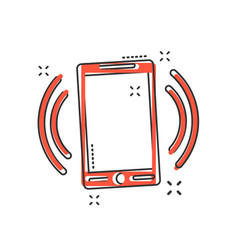 cartoon smartphone icon in comic style phone sign vector image