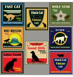 Cat and dog vintage label set vector
