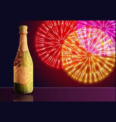 champagne fireworks concept banner cartoon style vector image