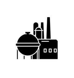 chemical factory black icon sign on vector image