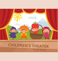 children on stage kids in fruit costumes perform vector image