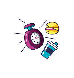 Chronometer time with hamburger and drink bottle vector