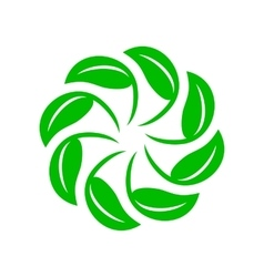 Circle of green leaves icon simple style vector image