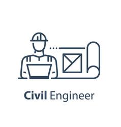 Civil engineer behind notebook vector