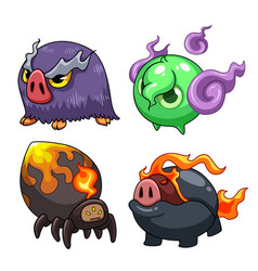 collection cute cartoon monster character vector image