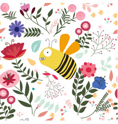 Colorful bird in sptring summer flower garden vector