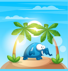 cute funny elephant - cartoon charater vector image