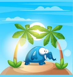 Cute funny elephant - cartoon charater vector