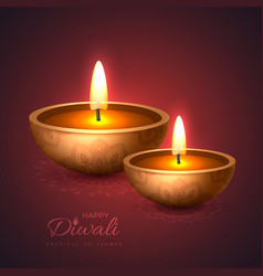 diwali diya - oil lamp holiday design for vector image