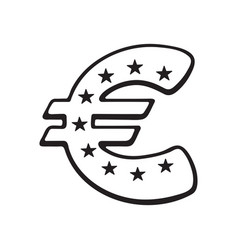 doodle euro sign with stars vector image