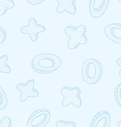 Doodled seamless pattern from crosses and rings vector image