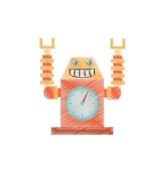 Drawing robot clock laungh rocket smile vector