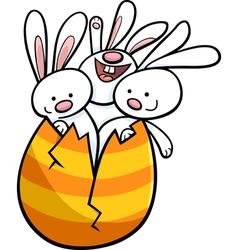 Easter bunnies in egg cartoon vector