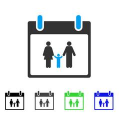 Family calendar day flat icon vector