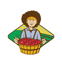 Farmer Boy Straw Hat Tomato Harvest vector image