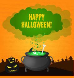 festive happy halloween template vector image