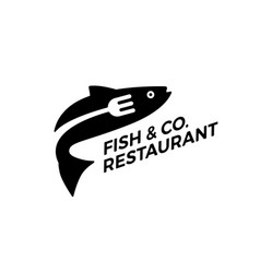 Fish fork restaurant logo icon vector