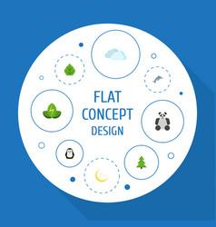 Flat icons night eco energy playful fish and vector