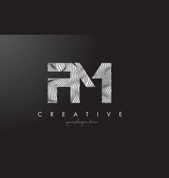 Fm f m letter logo with zebra lines texture vector