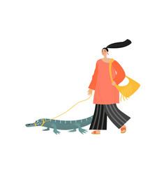 Funny girl walks with a crocodile on a leash vector