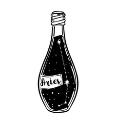Glass bottle with zodiac aries constellation vector