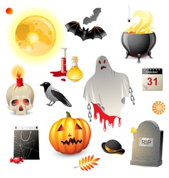 great halloween icons set vector image