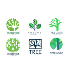 green tree logo templates collection abstract vector image