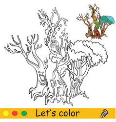 halloween coloring with colored example scary tree vector image