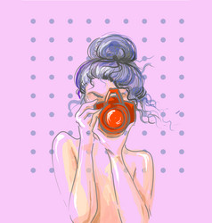 hand drawn beautiful cute girl with camera in his vector image