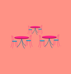 Icon in flat design tables and chairs vector
